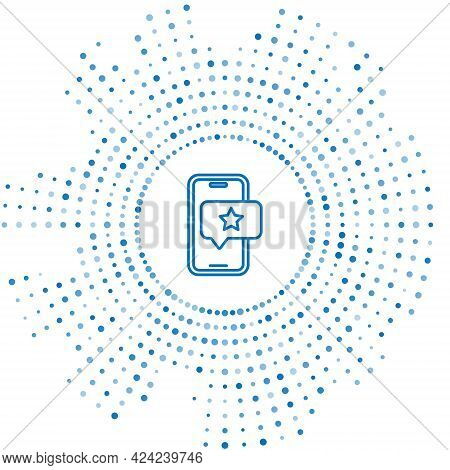 Blue Line Mobile Phone With Review Rating Icon Isolated On White Background. Concept Of Testimonials