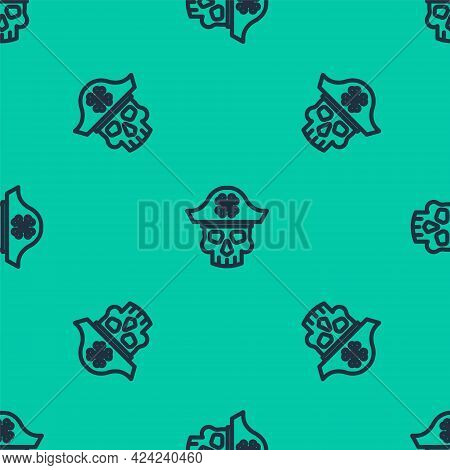 Blue Line Pirate Captain Icon Isolated Seamless Pattern On Green Background. Vector