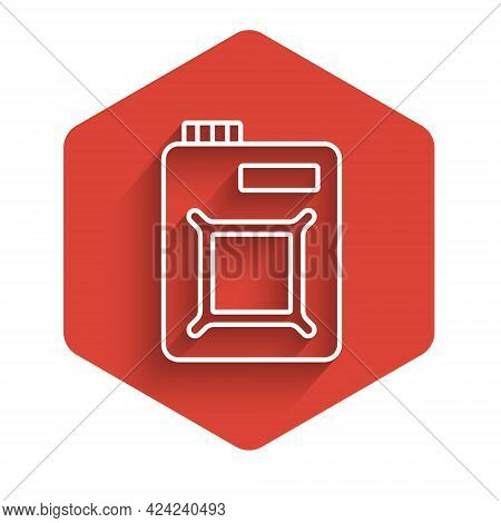 White Line Canister For Motor Machine Oil Icon Isolated With Long Shadow Background. Oil Gallon. Oil