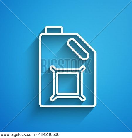 White Line Canister For Motor Machine Oil Icon Isolated On Blue Background. Oil Gallon. Oil Change S