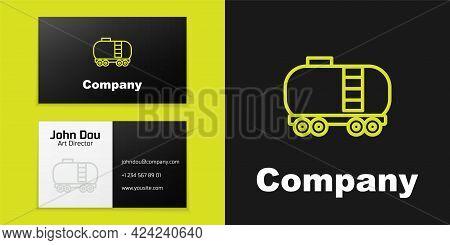 Logotype Line Oil Railway Cistern Icon Isolated On Black Background. Train Oil Tank On Railway Car.