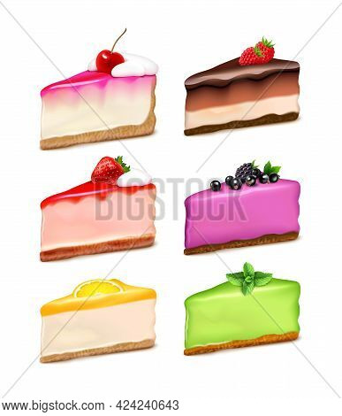 Cheesecake 6 Popular Flavors Pieces Realistic Set With Lemon Strawberry Mint Chocolate Natural Extra