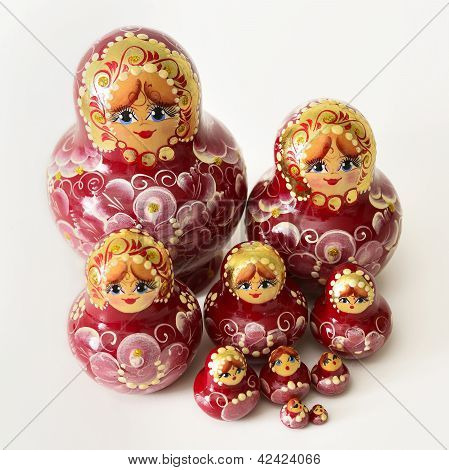 A Group Of Russian Wooden Dolls