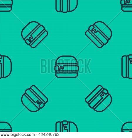 Blue Line Burger Icon Isolated Seamless Pattern On Green Background. Hamburger Icon. Cheeseburger Sa