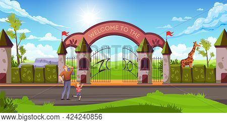 Father With Kid In Front Of Zoo Entry Metal Gates Stone Arch Giraffe Colorful Landscape Vector Illus