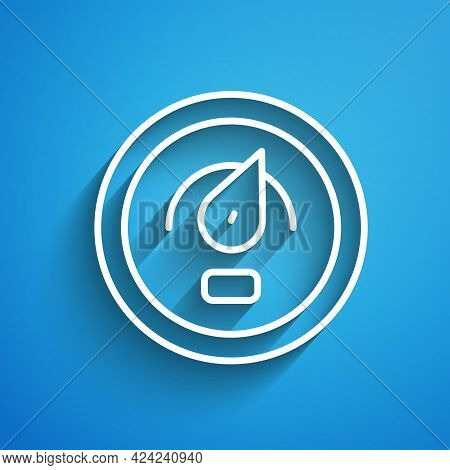 White Line Digital Speed Meter Concept Icon Isolated On Blue Background. Global Network High Speed C