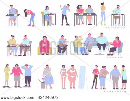 Eating Disorder Obesity Bulimia Set With Flat Isolated Human Characters Eating Junk Food And Weighin