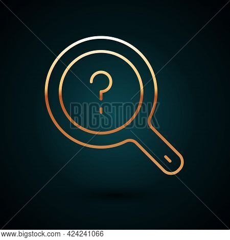 Gold Line Unknown Search Icon Isolated On Dark Blue Background. Magnifying Glass And Question Mark.