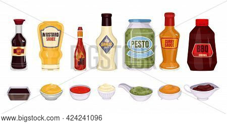 Sauce Packaging Set With Isolated Images Of Sauce Bottles With Text And Dishes With Delicious Sauces
