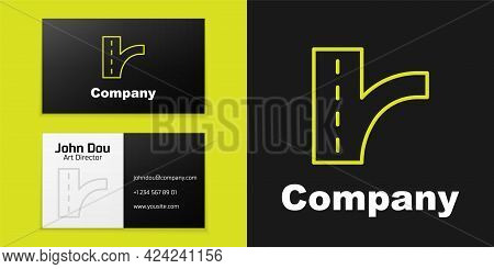 Logotype Line Road Traffic Sign. Signpost Icon Isolated On Black Background. Pointer Symbol. Isolate
