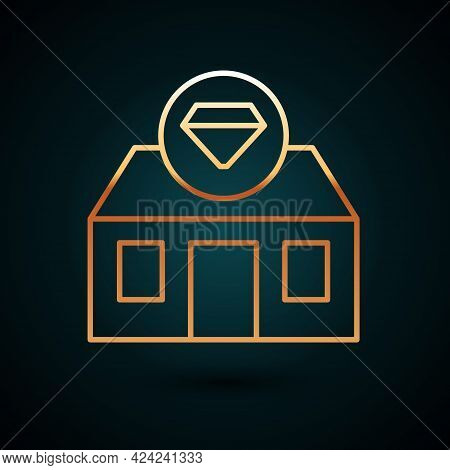 Gold Line Front Facade Building Jewelry Store Icon Isolated On Dark Blue Background. Vector