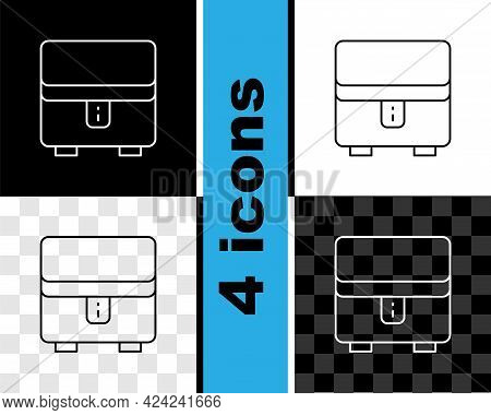 Set Line Jewelry Box Icon Isolated On Black And White, Transparent Background. Casket With Jewelry.