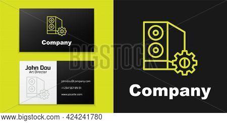 Logotype Line Case Of Computer Setting Icon Isolated On Black Background. Computer Server. Workstati