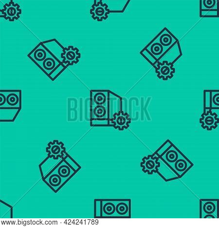 Blue Line Case Of Computer Setting Icon Isolated Seamless Pattern On Green Background. Computer Serv