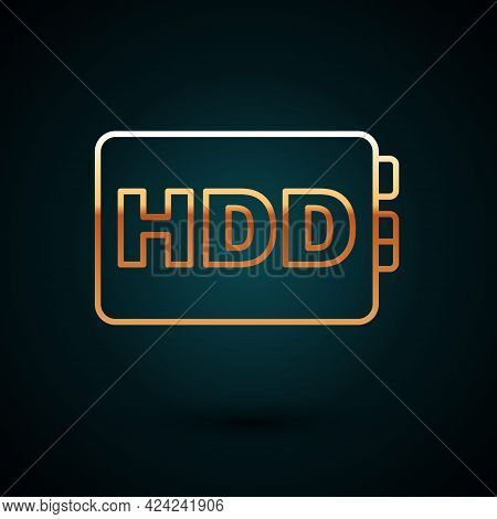 Gold Line Hard Disk Drive Hdd Icon Isolated On Dark Blue Background. Vector