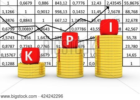 Kpi Concept Business Gold Coin On The Background Of Quotations 3d Illustration