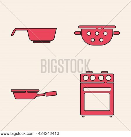 Set Oven, Frying Pan, Kitchen Colander And Frying Pan Icon. Vector