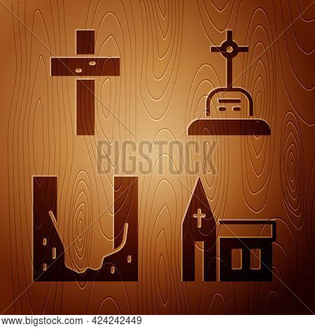 Set Church Building, Christian Cross, Cemetery Digged Grave Hole And Grave With Cross On Wooden Back