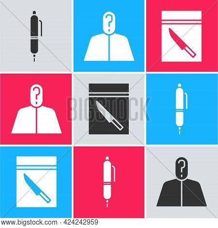 Set Pen, Anonymous With Question Mark And Evidence Bag And Knife Icon. Vector