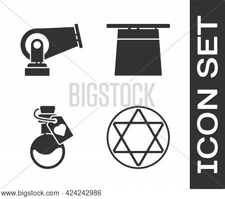 Set Star Of David, Cannon, Bottle With Love Potion And Magician Hat Icon. Vector