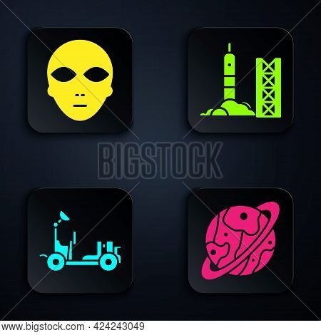 Set Planet Saturn, Alien, Mars Rover And Rocket Launch From The Spaceport. Black Square Button. Vect