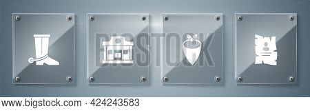 Set Wanted Western Poster, Cowboy Bandana, Wild Saloon And Boot. Square Glass Panels. Vector