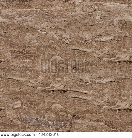 Classic Brown Travertine Stone Texture. Texture For Perfect Interior Or Other Design Project. Seamle