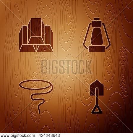 Set Shovel, Gold Bars, Lasso And Camping Lantern On Wooden Background. Vector