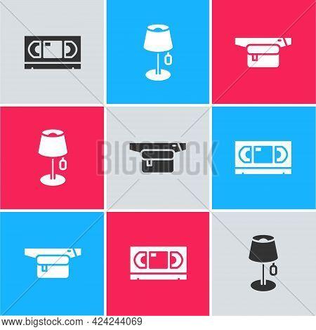 Set Vhs Video Cassette Tape, Floor Lamp And Waist Bag Of Banana Icon. Vector