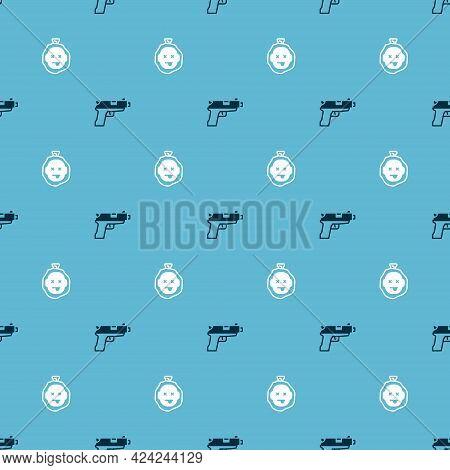 Set Pistol Or Gun And Murder On Seamless Pattern. Vector
