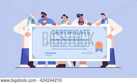 Graduated Doctors Holding Certificate Graduates Celebrating Academic Diploma Degree University Medic