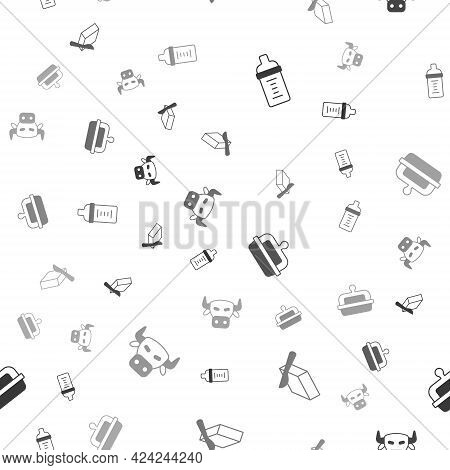 Set Baby Milk In A Bottle, Butter Butter Dish, And Cow Head On Seamless Pattern. Vector