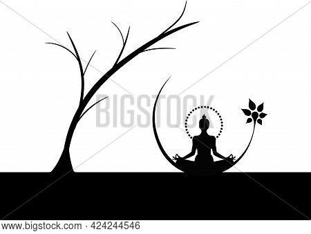 Sitting Buddha Under Tree Illutrator Zen Religion