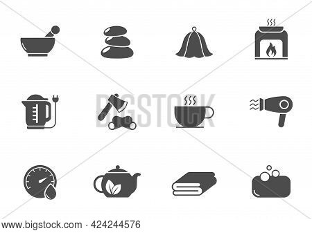 Spa And Sauna Silhouette Vector Icons Isolated On White. Spa And Sauna Icon Set For Web, Mobile Apps