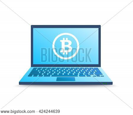 Bitcoin Cryptocurrency Digital Money. Realistic Laptop In Blue Gradient Color With Bitcoin. Color Ve
