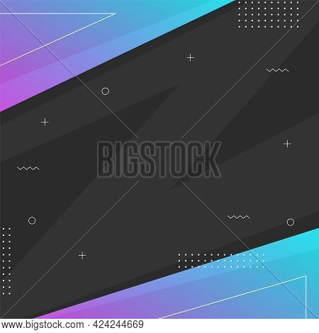 Minimal Memphis Design Square Template With Copy Space. Square Banner With Black Background. Blue Gr