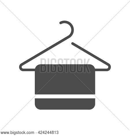 Towel On Hanger Silhouette Vector Icon Isolated On White Background. Towel On Hanger Icon For Web, M