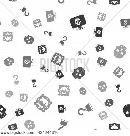 Set Skull, Pirate Hook, And Ship Porthole With Seascape On Seamless Pattern. Vector