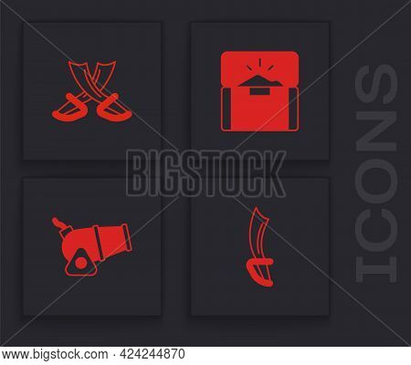 Set Pirate Sword, Crossed Pirate Swords, Antique Treasure Chest And Cannon Icon. Vector
