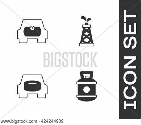 Set Propane Gas Tank, Gas For Vehicle, Spare Wheel In The Car And Oil Rig Icon. Vector