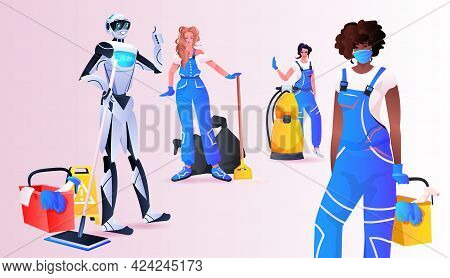 Robotic Janitor With Mix Race Women Cleaners Standing Together Cleaning Service Artificial Intellige