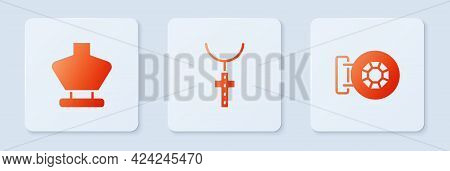 Set Christian Cross On Chain, Necklace Mannequin And Jewelry Store. White Square Button. Vector