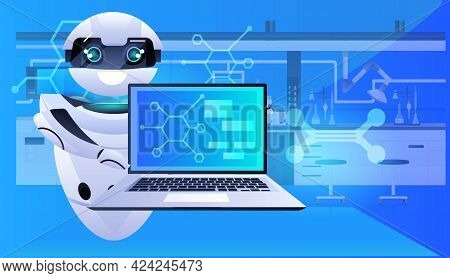 Robot Using Laptop Robotic Chemists Making Experiments In Lab Artificial Intelligence Concept