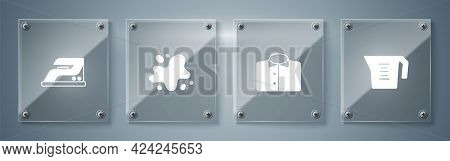 Set Measuring Cup, T-shirt, Water Spill And Electric Iron. Square Glass Panels. Vector