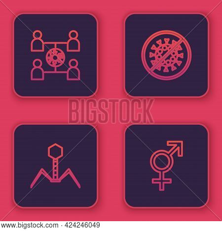 Set Line Virus Spread, Bacteria Bacteriophage, Stop Virus And Gender. Blue Square Button. Vector