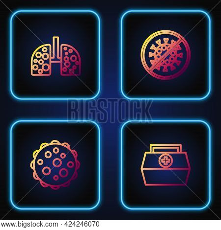 Set Line First Aid Kit, Virus, Cells In Lung And Stop Virus. Gradient Color Icons. Vector