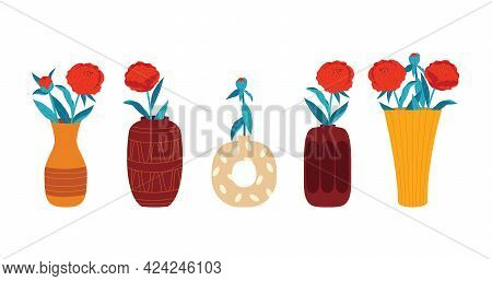 Colored Vector Illustration In A Flat Style. Flowers In A Vase Isolated On White Background. A Set O