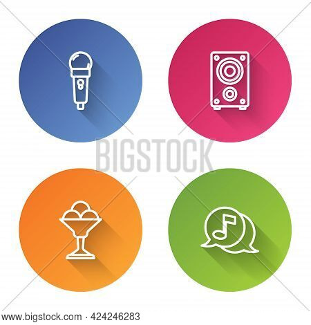 Set Line Microphone, Stereo Speaker, Ice Cream In Bowl And Musical Note Speech Bubble. Color Circle