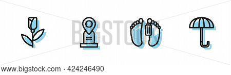 Set Line Dead Body, Flower Rose, Location Grave And Umbrella Icon. Vector