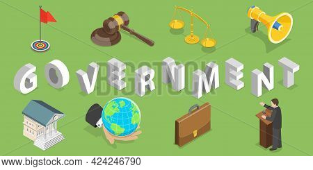 3d Isometric Flat Vector Conceptual Illustration Of Government, Political System